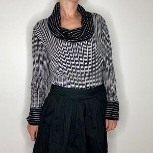 Calvin Klein Black White Cowl Neck Sweater